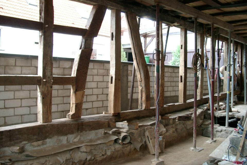 Fachwerkhaus Holzarbeiten Nordwand
